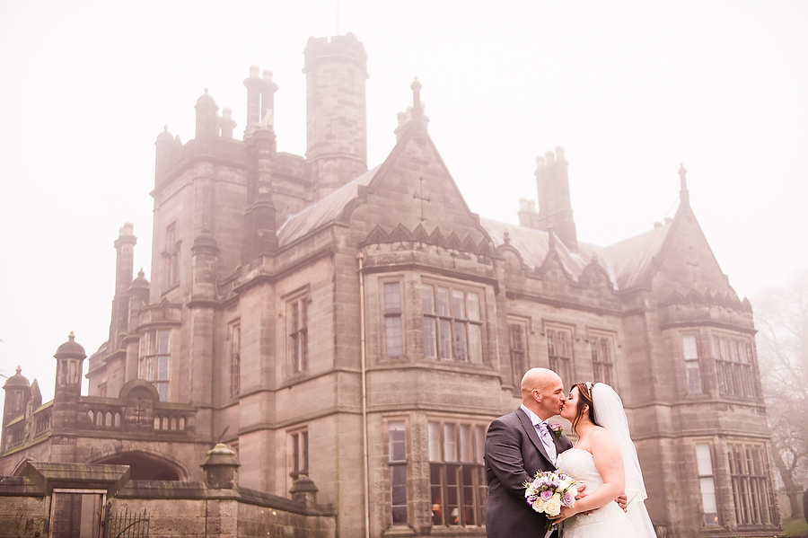 Stunning winter portrait in the afternoon fog at Heath House in Tean by Reportage Stafford Wedding Photographer Barry James