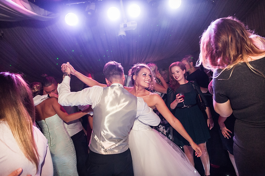 Capturing the fun and excitement of the first dance at Calderfields Country Club in Walsall by Reportage Walsall Wedding Photographer Barry James