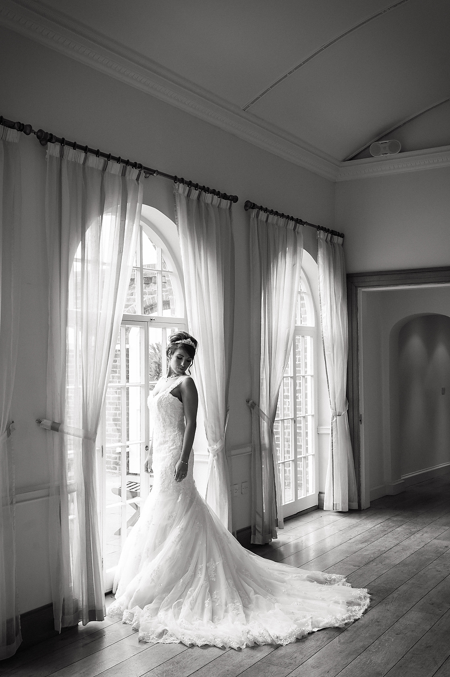 Beautiful bridal portrait in a Maggie Sottero gown at Alrewas Hayes in Burton by Burton Wedding Photographer Barry James