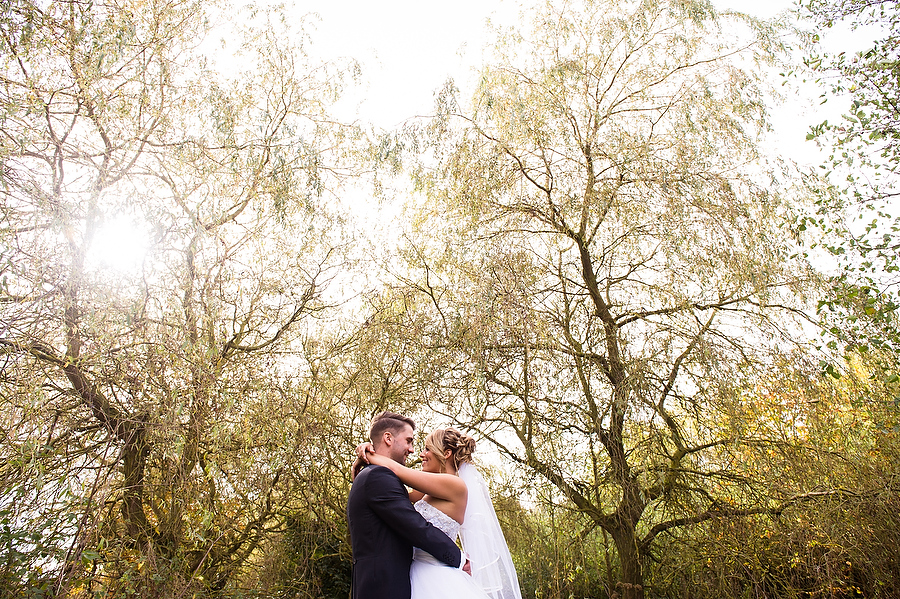 Stunning contemporary portrait in the gardens at Calderfields Country Club in Walsall by Recommended Wedding Photographer Barry James