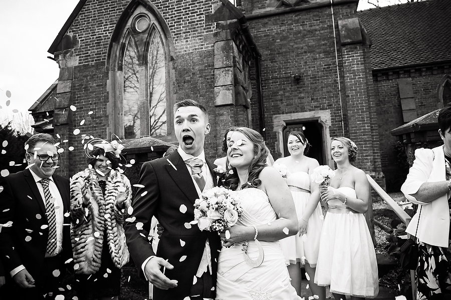 Hilarious confetti photographs at Walton on the Hill in Stafford by Stafford Contemporary Wedding Photographer Barry James