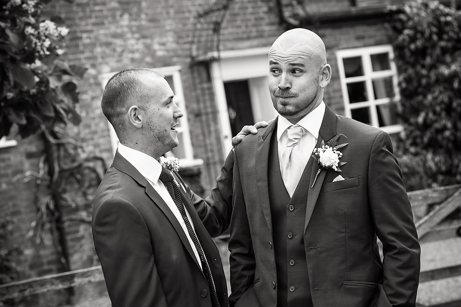 Fun portraits of groom and groomsmen at Packington Moor in Lichfield by Lichfield Reportage Wedding Photographer Barry James