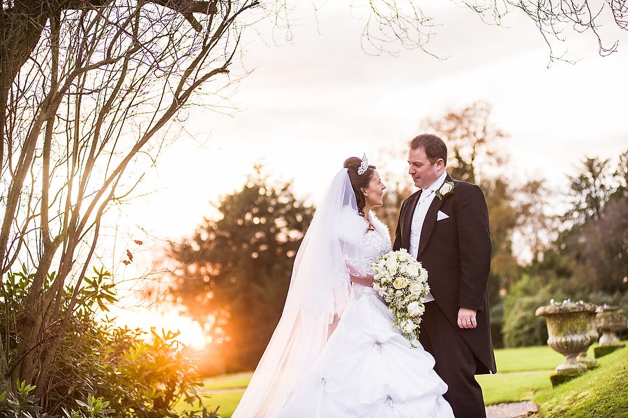 Incredible sunset portrait at Sandon Hall in Stafford by Stafford Contemporary Wedding Photographer Barry James