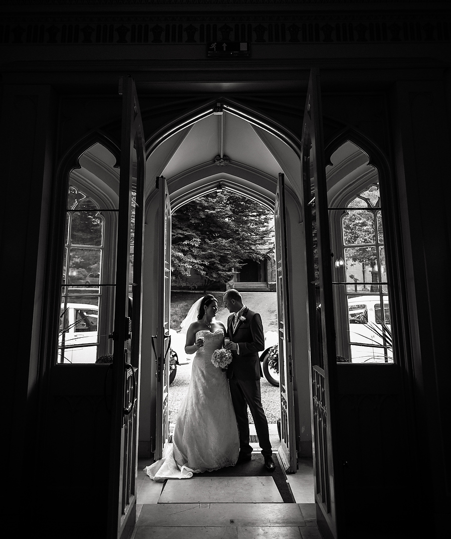 Stunning portrait in doorway at Hawkesyard Hall in Rugeley by Rugeley Contemporary Wedding Photographer Barry James