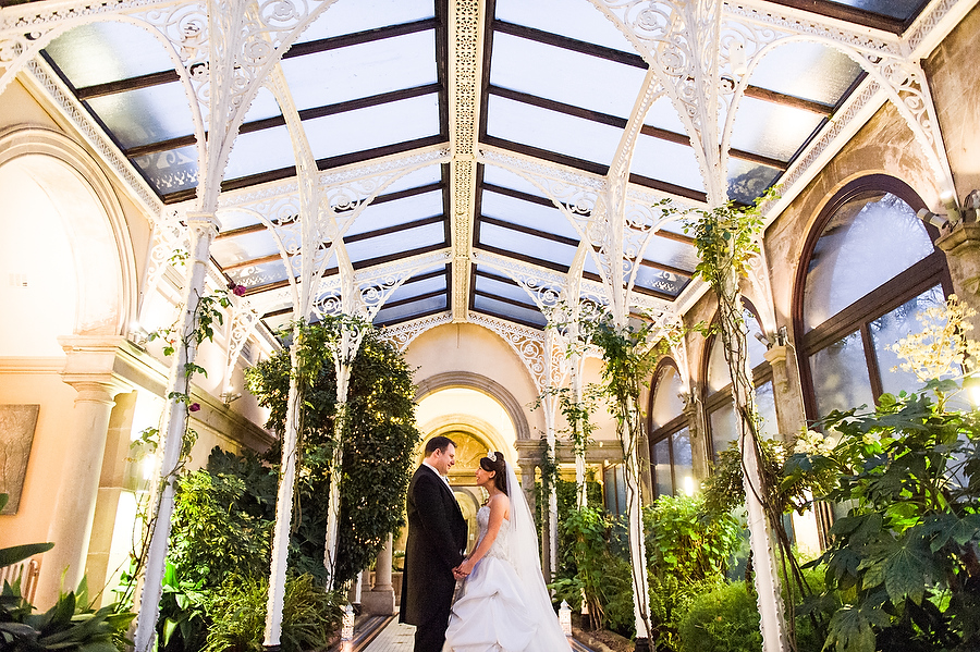 Beautiful evening portrait in the Orangery at Sandon Hall in Stafford by Stafford Contemporary Wedding Photographer Barry James