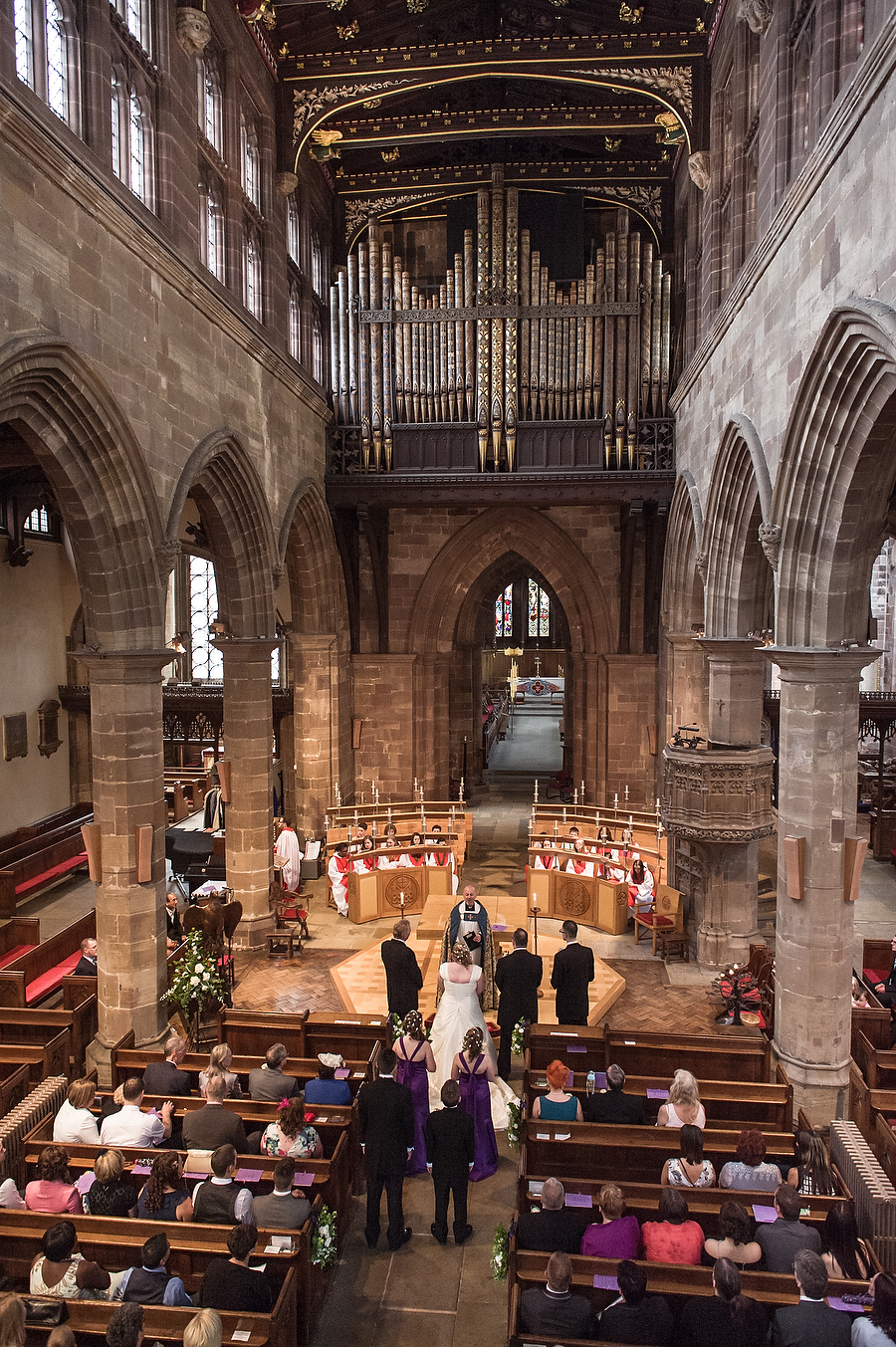 An overview of the beautiful church at Collegiate Church in Wolverhampton by Contemporary Wedding Photographer Barry James
