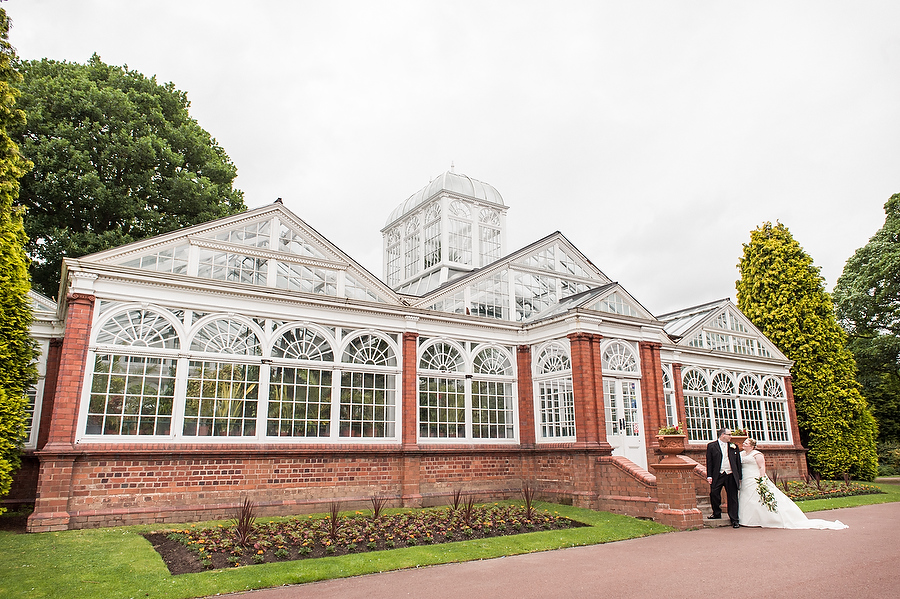 Creative contemporary portraits of Bride and Groom in West Park in Wolverhampton by Contemporary Wedding Photographer Barry James