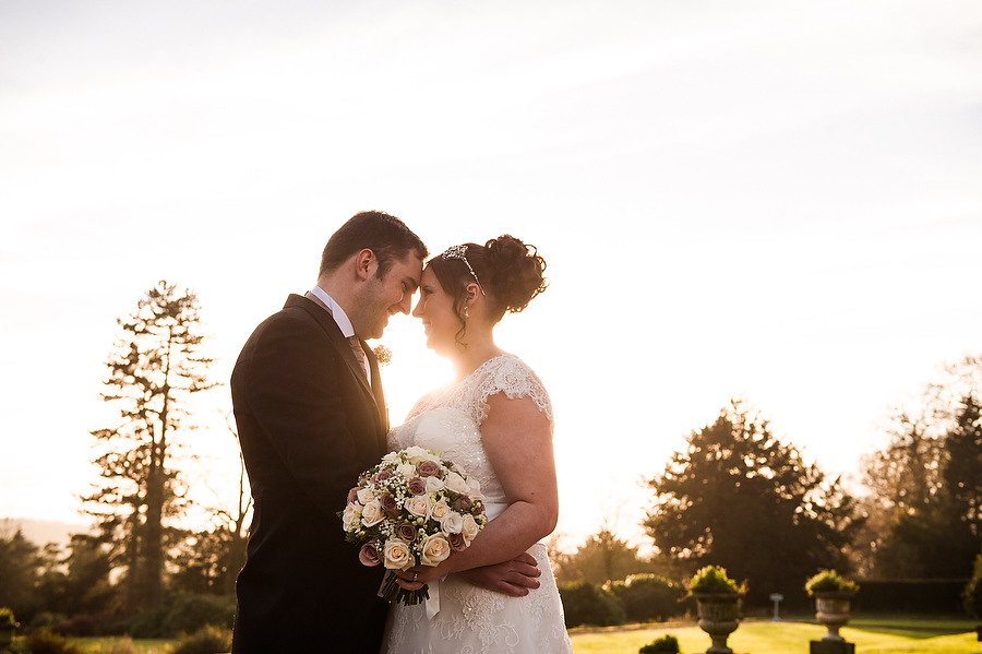 Stunning sunset portraits at Sandon Hall in Stafford by Contemporary Stafford Wedding Photographer Barry James