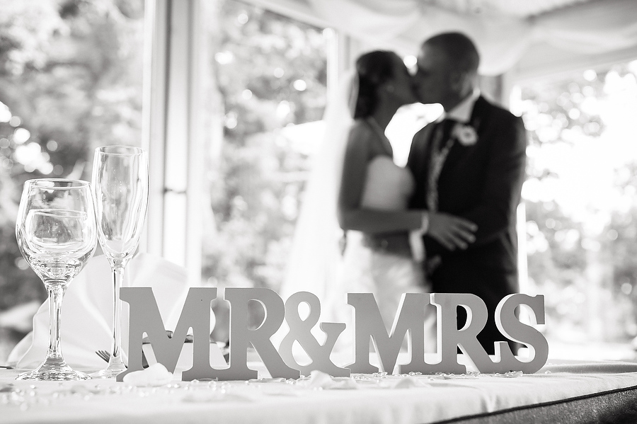 Mr and Mrs Wooden sign at Nailcote Hall in Solihull by Contemporary Birmingham Wedding Photographer Barry James