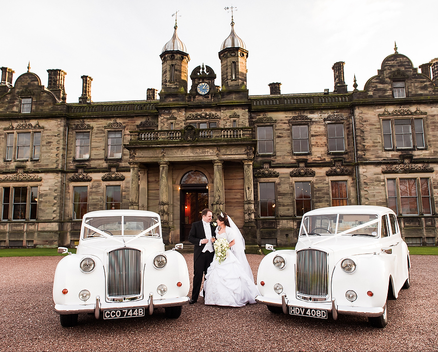 Platinum wedding cars at Sandon Hall in Stafford by Stafford Contemporary Wedding Photographer Barry James