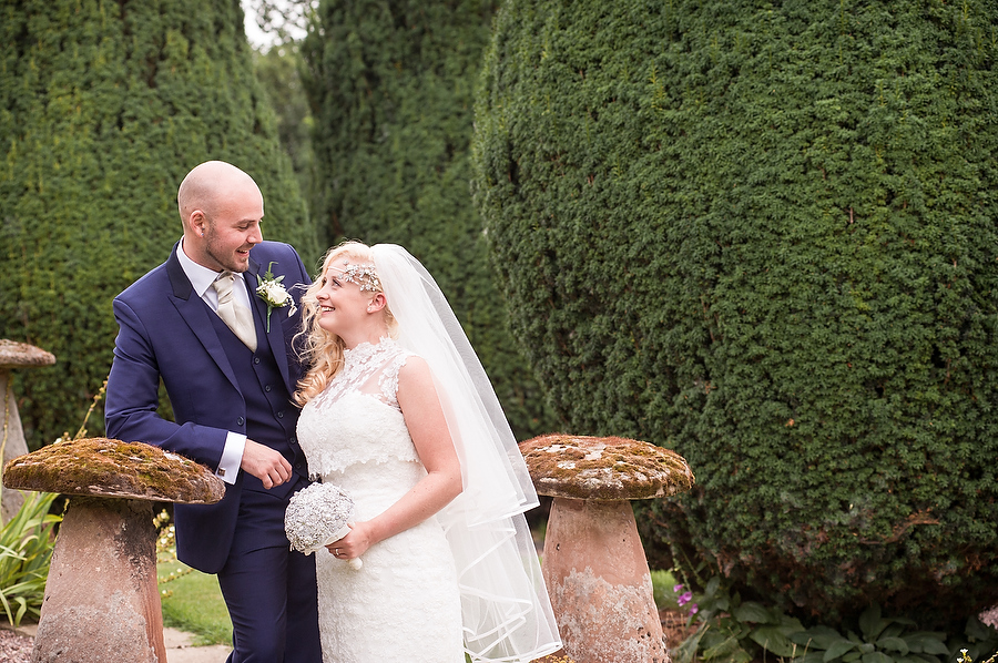Elegant portraits in the gardens at Packington Moor in Lichfield by Lichfield Contemporary Wedding Photographer Barry James