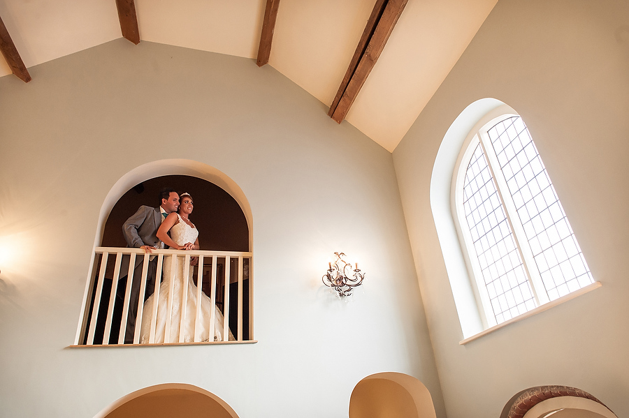 Creative portrait of Bride and Groom at Alrewas Hayes in Burton by Burton Wedding Photographer Barry James