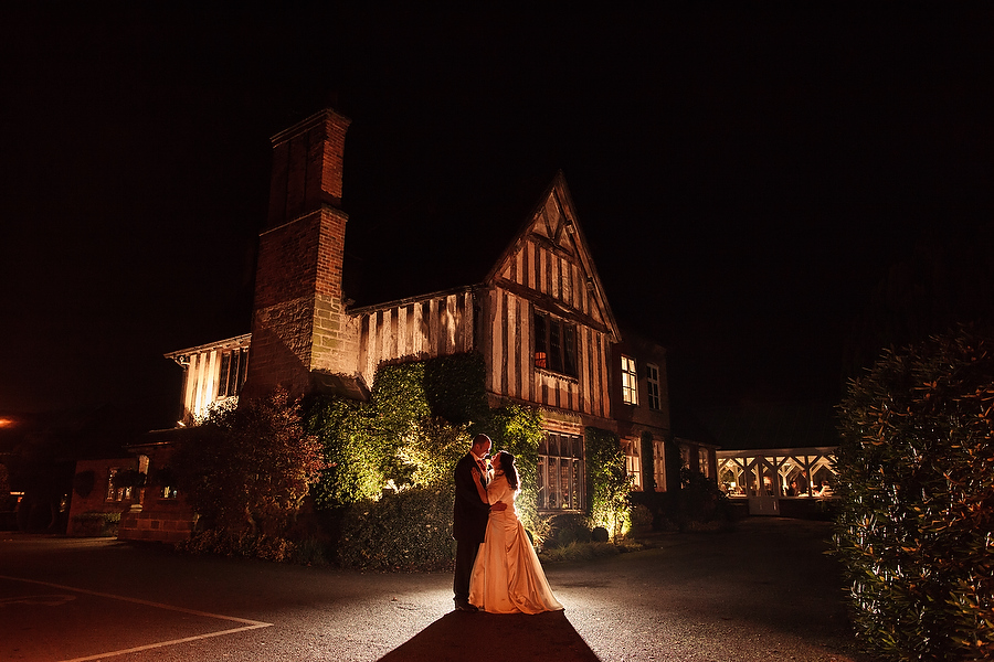 Modern flash lit portraits at Moat House in Acton Trussell by Stafford Contemporary Wedding Photographer Barry James