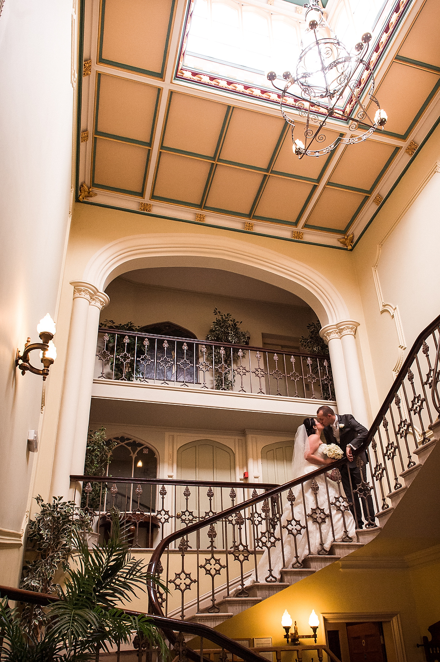 Stunning staircase at Hawkesyard Hall in Rugeley by Rugeley Contemporary Wedding Photographer Barry James