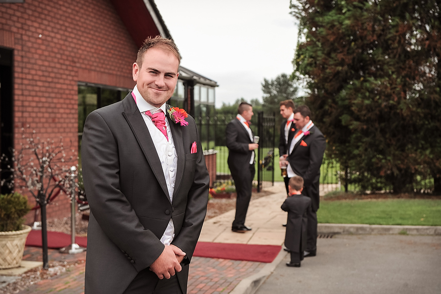 Relaxed portrait of groom and groomsmen at Calderfields Golf and Country Club in Walsall by Venue Recommended Wedding Photographer Barry James