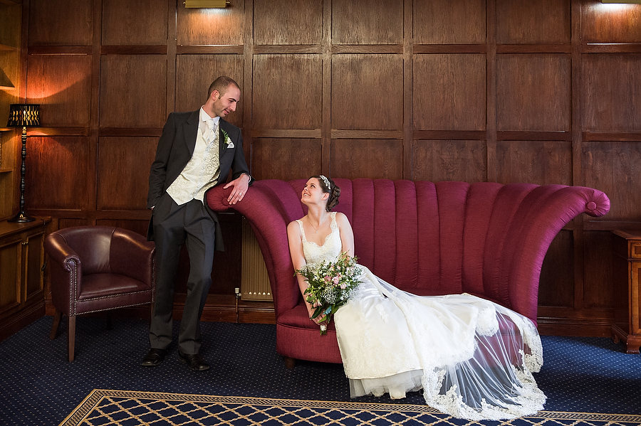 Beautiful portraits in the Library at The Moat House in Stafford by Stafford Contemporary Wedding Photographer Barry James