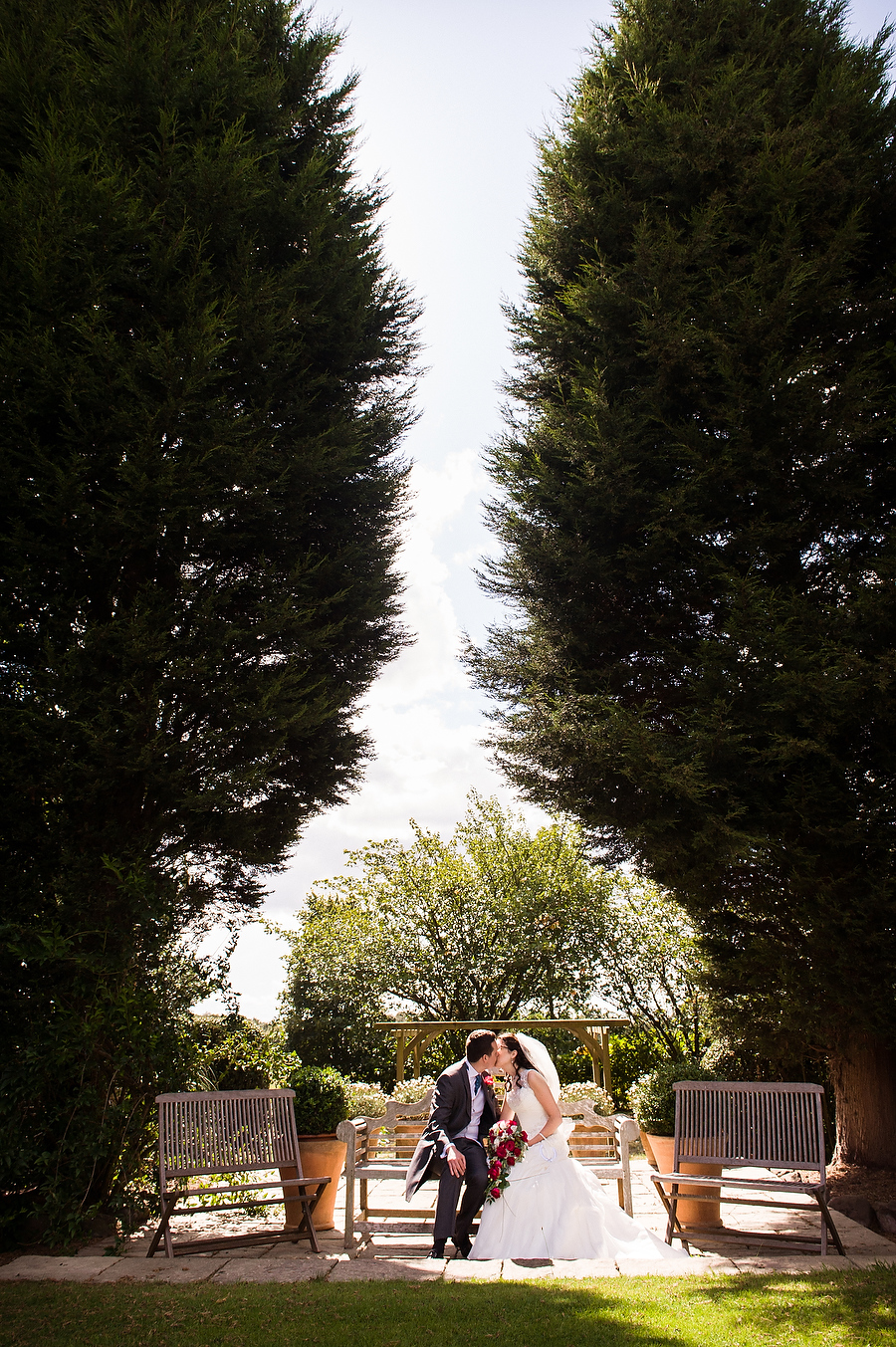Elegant portrait in the gardens at Packington Moor in Lichfield by Award Winning Wedding Photographer Barry James