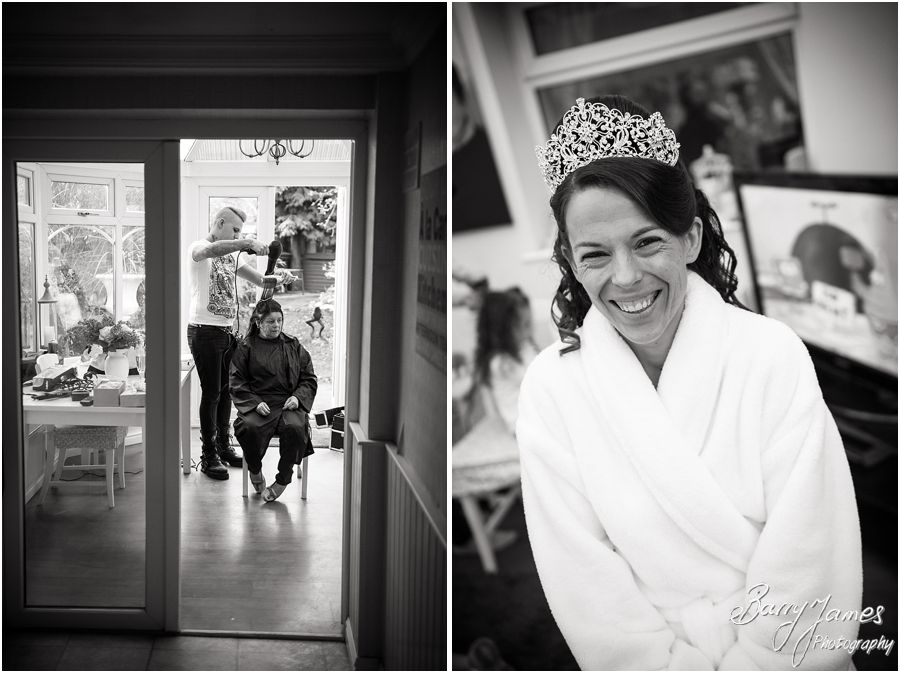 Relaxed natural storytelling bridal preparation wedding photographs at home in Brewood by Cannock Reportage Wedding Photographer Barry James