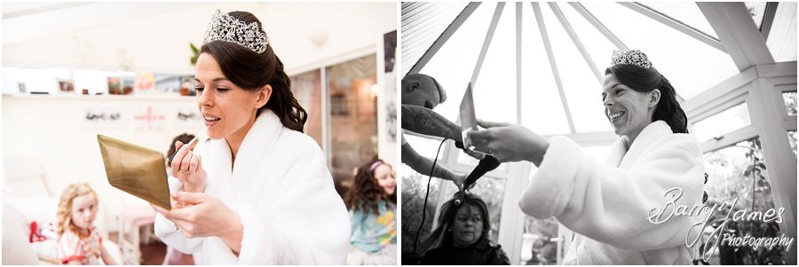 Bridal preparations wedding photographs at home in Brewood by Stafford Wedding Photographer Barry James