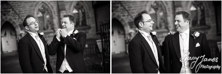Relaxed natural wedding photographs at St Pauls Church in Coven by Brewood Wedding Photographer Barry James