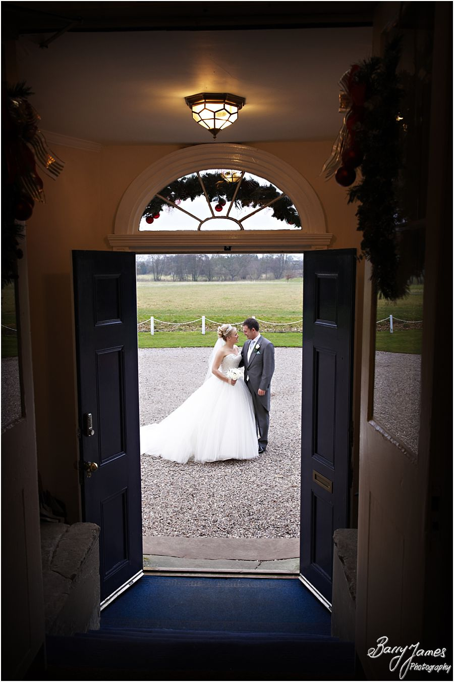 Unobtrusive reportage wedding photography of a winter weddings at Somerford Hall in Brewood by Staffordshire Wedding Photographer Barry James