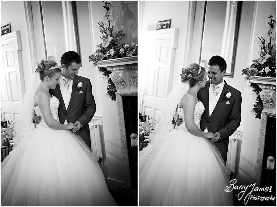 Contemporary wedding photography of a winter wedding at Somerford Hall in Brewood by Midlands Wedding Photographer Barry James