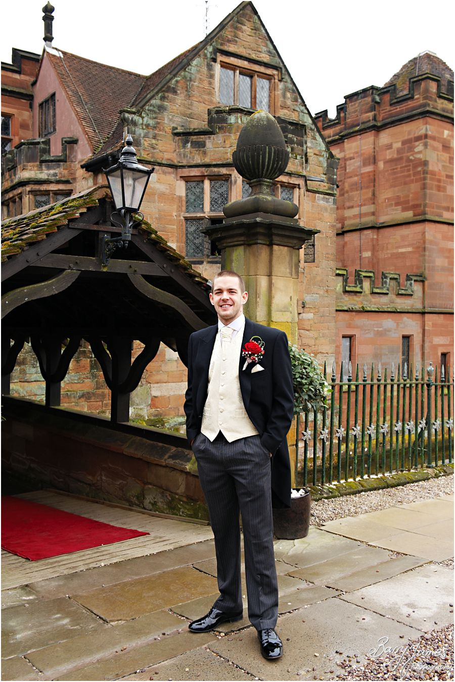 Contemporary portraits of groom ahead of ceremony at New Hall in Walmley by Little Aston Wedding Photographer Barry James