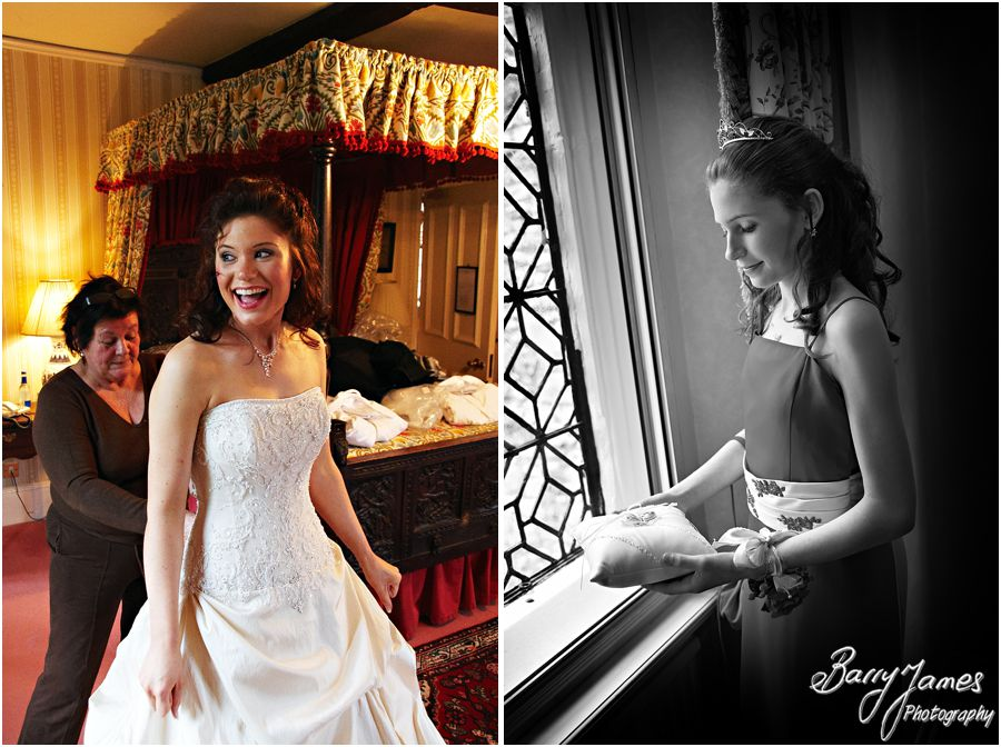 Relaxed natural photos of getting ready at New Hall in Walmley by Sutton Coldfield Wedding Photographer Barry James