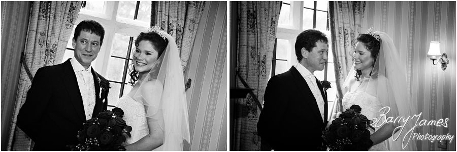 Portraits of Bride and Father before ceremony at New Hall in Walmley by Award Winning Wedding Photographer Barry James