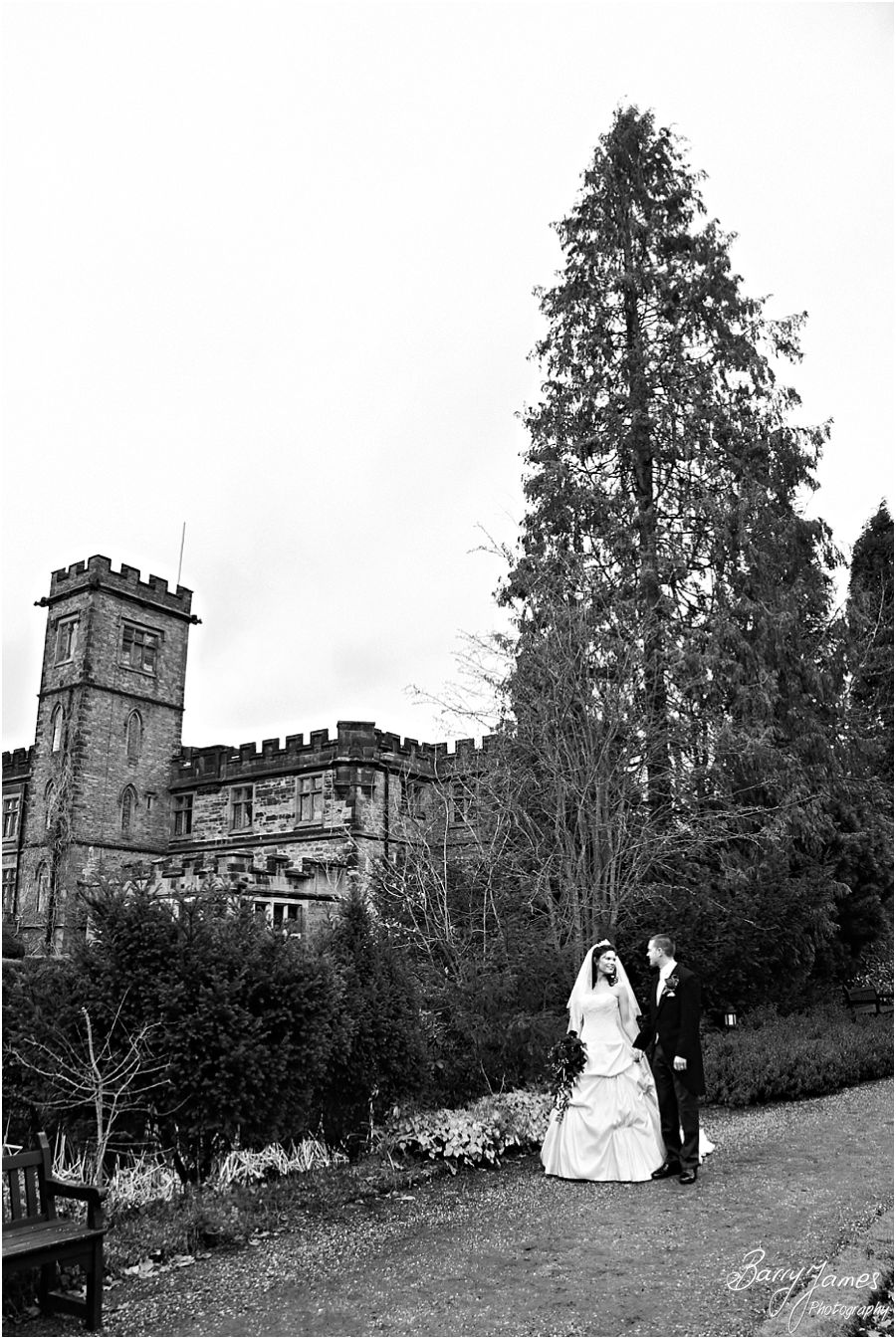 Creative elegant portraits of Bride and Groom around the stunning gardens of New Hall in Walmley by Contemporary Wedding Photographer Barry James
