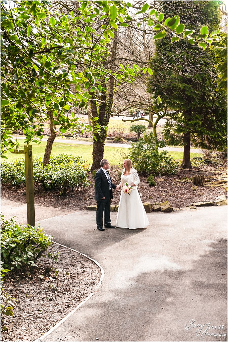 Gorgeous contemporary wedding photographs at Walsall Arboretum in Walsall by Professional Wedding Photographer Barry James
