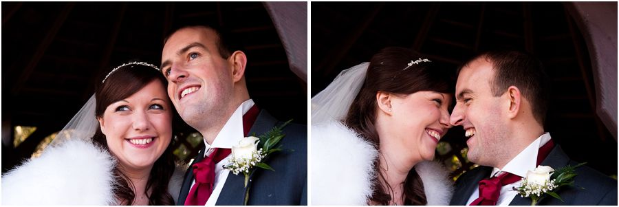 Creative natural photographs of Bride and Groom in Gardens at The Fairlawns in Aldridge by Walsall Professional Wedding Photographer Barry James