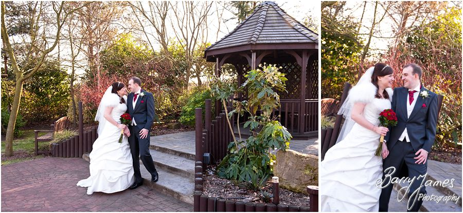 Creating stunning Bride and Groom portraits in Gardens at The Fairlawns in Aldridge by Walsall Master Wedding Photographer Barry James
