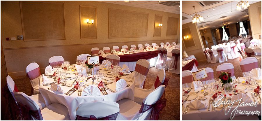 Wedding breakfast room details at The Fairlawns in Aldridge by Walsall Recommended Wedding Photographer Barry James