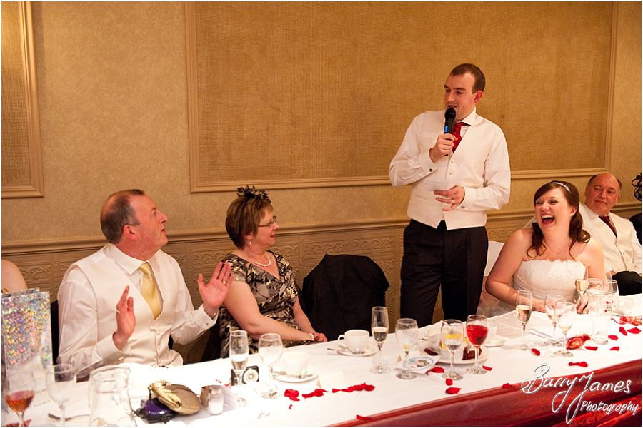 Creative photographs of speeches at The Fairlawns in Aldridge by Creative Reportage Wedding Photographer Barry James