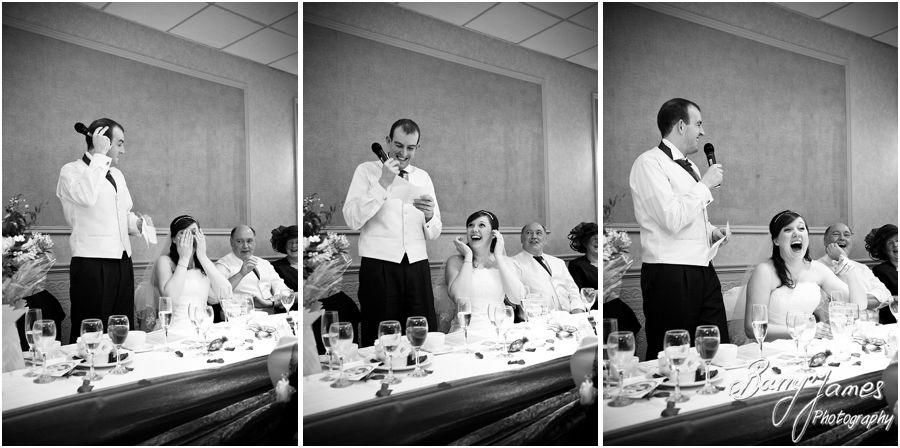 Reportage photographs of wedding speeches at The Fairlawns in Aldridge by Candid Wedding Photographer Barry James