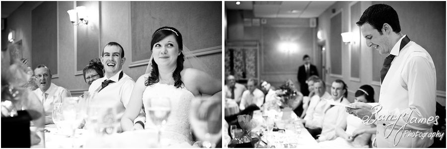 Capturing guest and speaker reactions during speeches at The Fairlawns in Aldridge by Creative Reportage Wedding Photographer Barry James