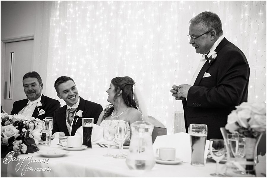 Fun candid photographs of speeches at Hawkesyard Hall in Rugeley by Modern Wedding Photographer Barry James