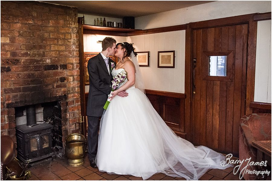 Natural creative indoor portraits of Bride and Groom at The Mill in Worston by Stafford Wedding Photographer Barry James