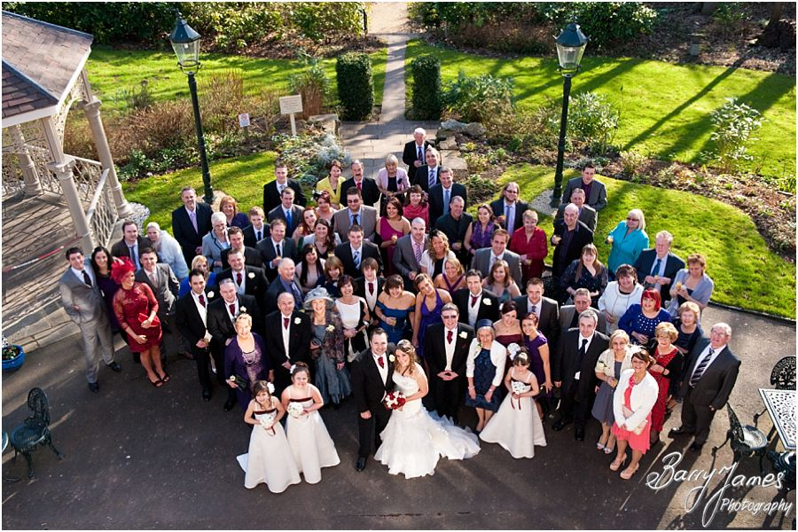 Traditional group photographs in gardens at The Valley Hotel in Ironbridge by Contemporary Wedding Photographer Barry James