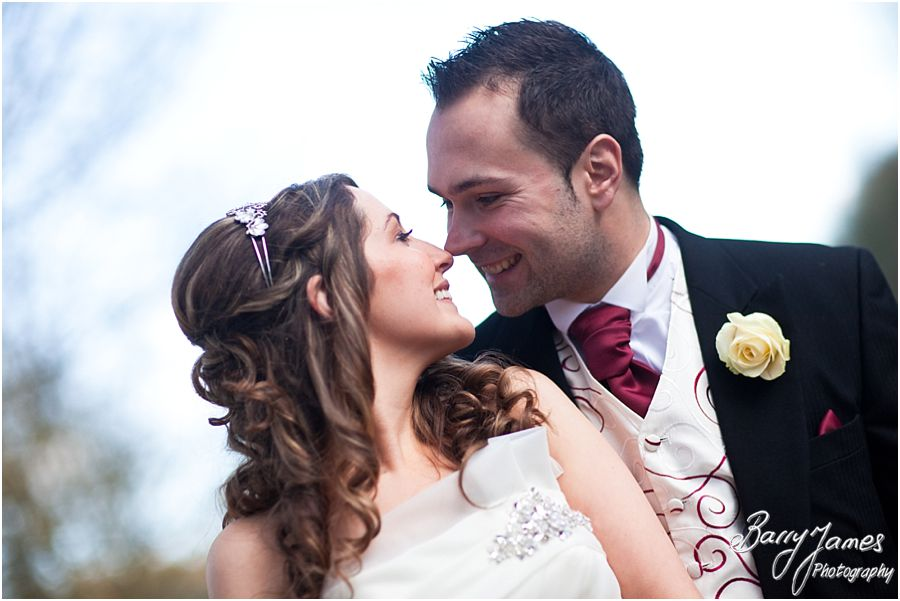 Creating unique wedding photographs in beautiful river set gardens and the special interior at The Valley Hotel in Ironbridge by Contemporary Wedding Photographer Barry James