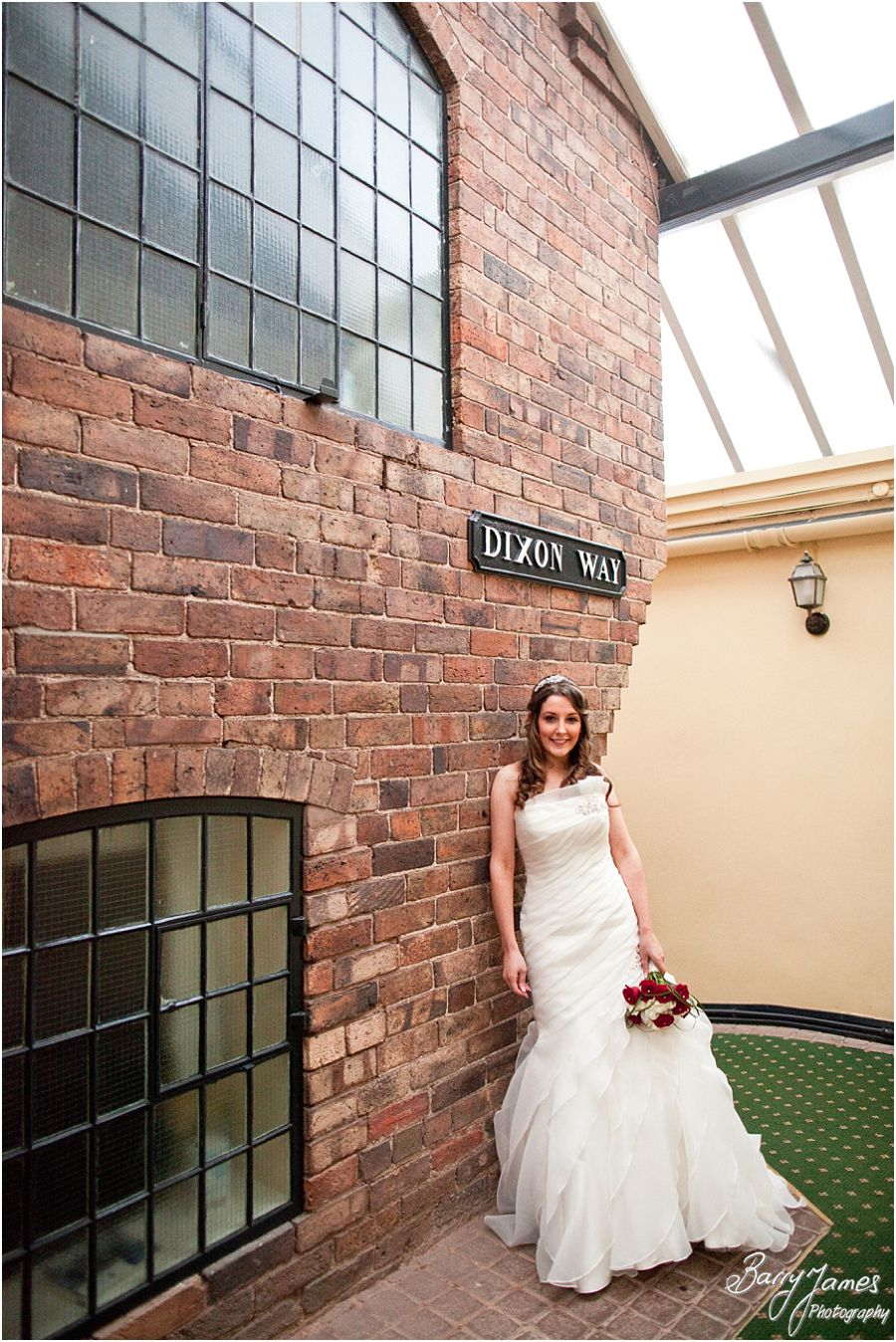 Creative relaxed portraits of Bride and Groom in gardens and in the hotel at The Valley Hotel in Ironbridge by Contemporary Wedding Photographer Barry James