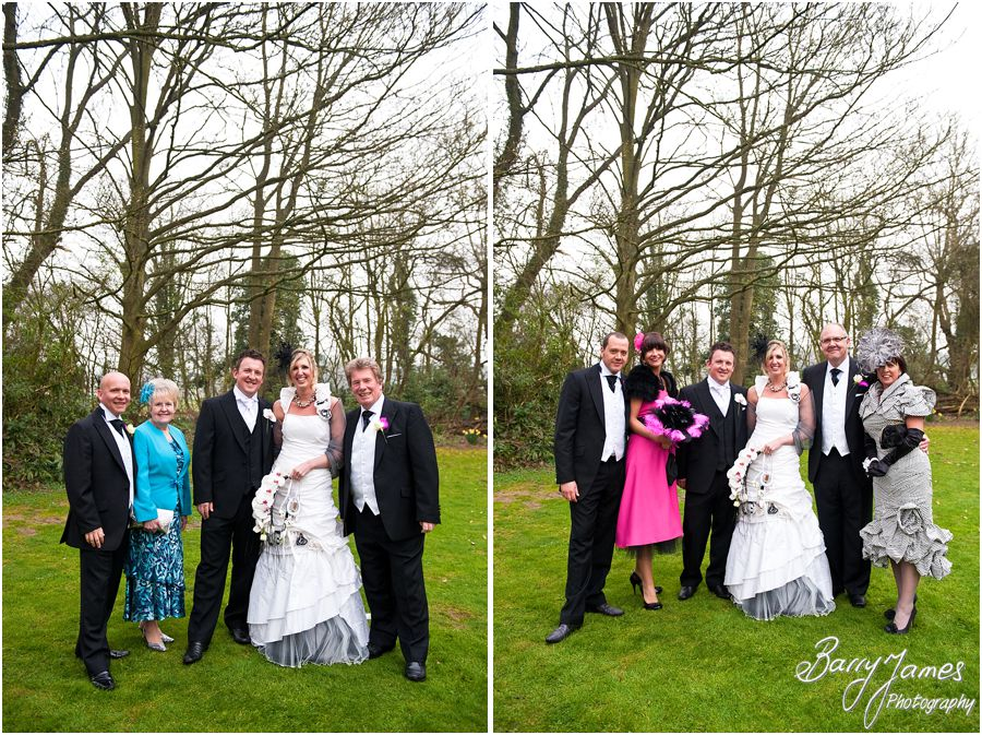 Relaxed family group photographs on lawns at Somerford Hall in Brewood by Brewood Wedding Photographer Barry James