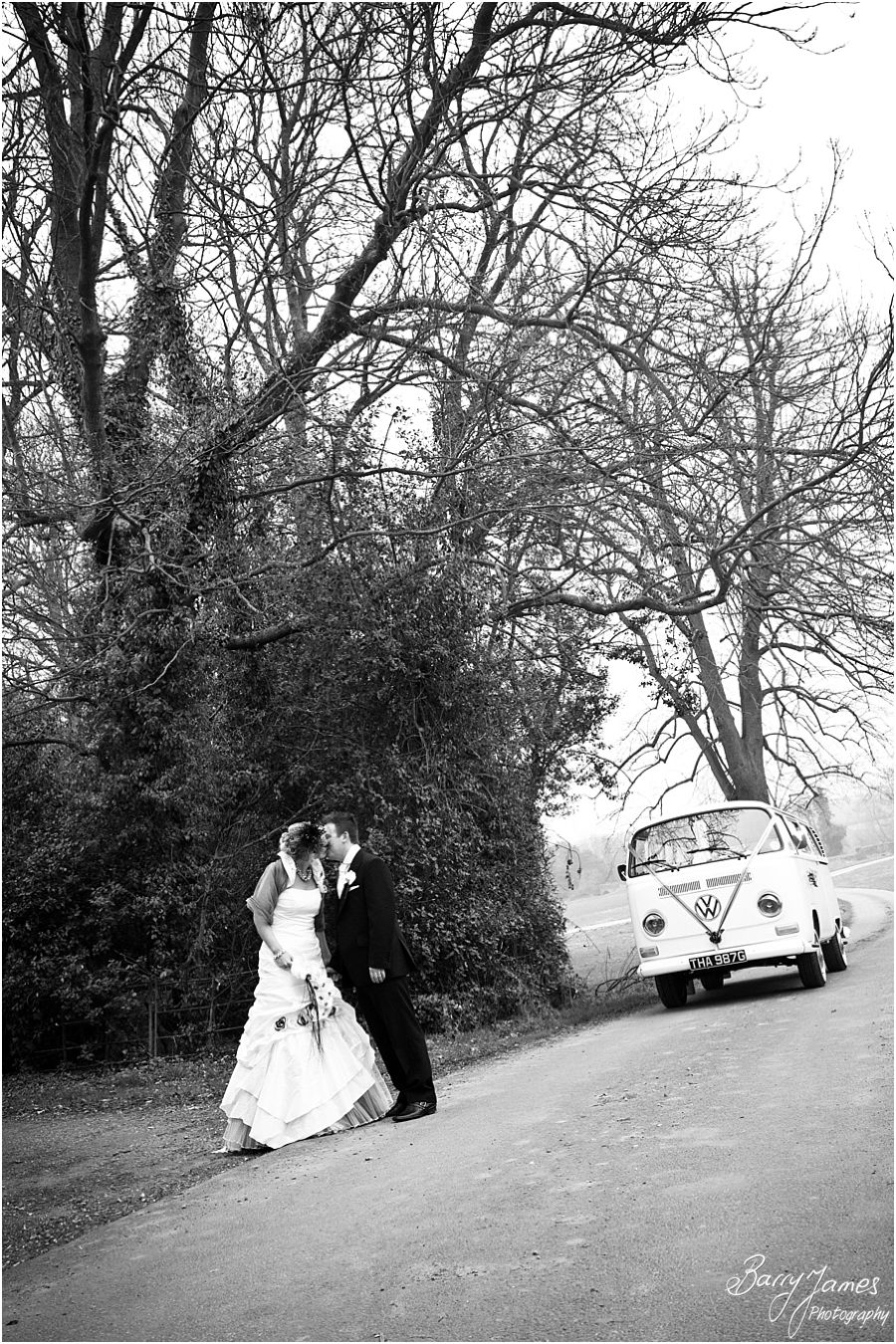 Beautiful photographs of Bride and Groom around grounds at Somerford Hall in Brewood by Brewood Wedding Photographer Barry James