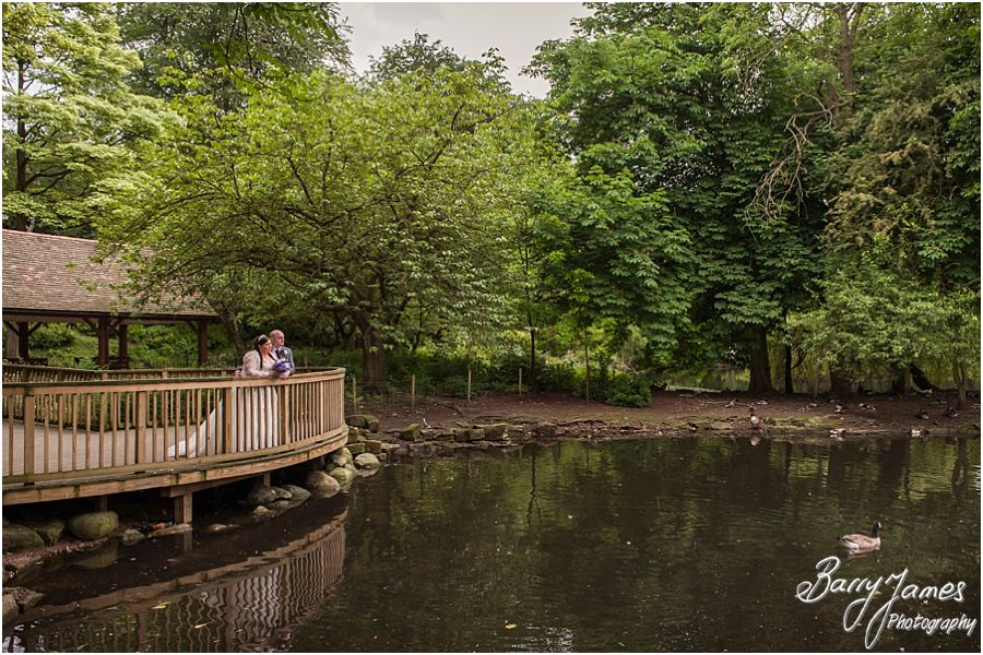Creative contemporary wedding portraits in the beautiful setting of Walsall Arboretum in Walsall by Professional Wedding Photographer Barry James