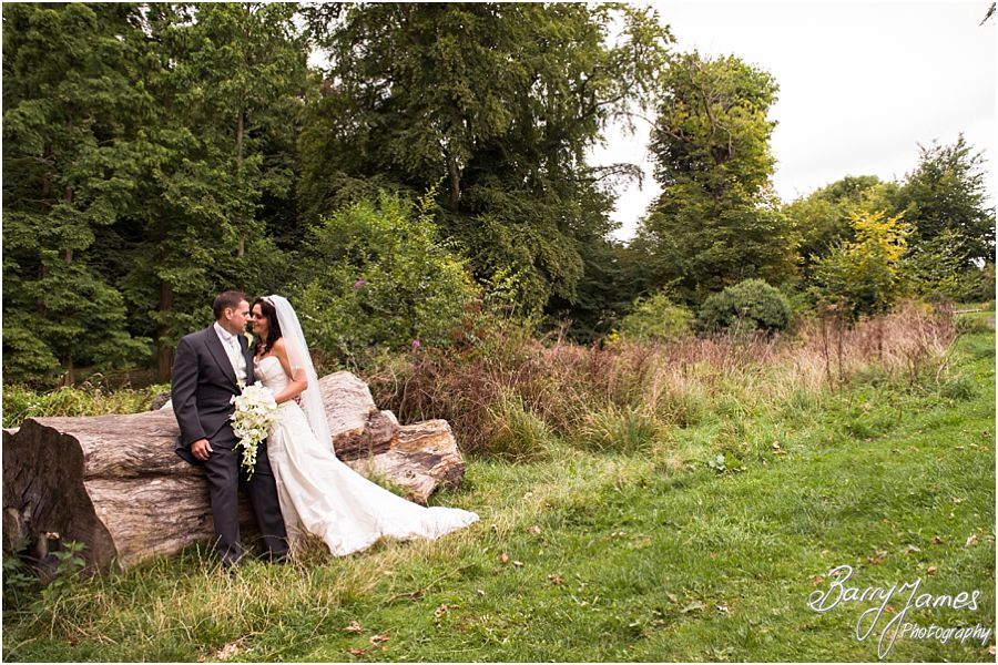 Creative relaxed portraits of Bride and Groom at Himley Park in Dudley by Staffordshire Wedding Photographer Barry James