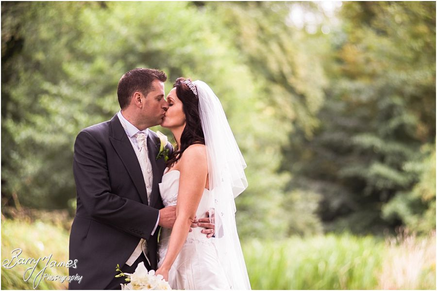 Creative portraits of Bride and Groom at Himley Park in Dudley by Staffordshire Wedding Photographer Barry James