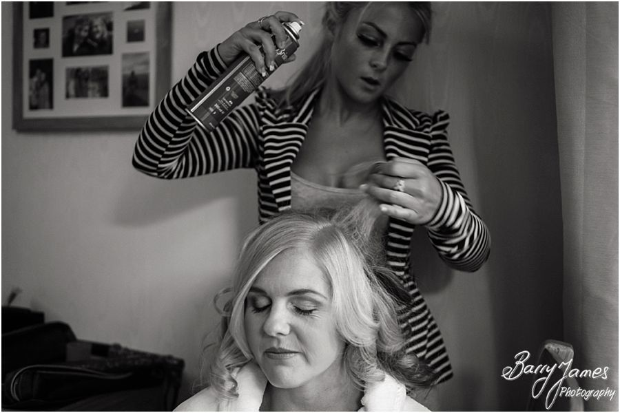 Candid photographs of the morning preparations at home before wedding at Rodbaston Hall in Penkridge by Staffordshire Wedding Photographer Barry James