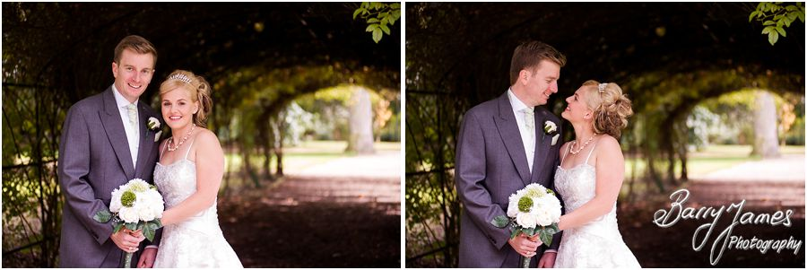 Creative contemporary portraits of beautiful bride and groom on their wedding day at Rodbaston Hall in Penkridge by Cannock Wedding Photographer Barry James