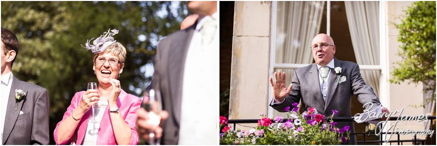 Candid photographs of the speeches capture the wonderful emotion and reaction of the guests and the wedding party at Rodbaston Hall in Penkridge by Cannock Wedding Photographer Barry James